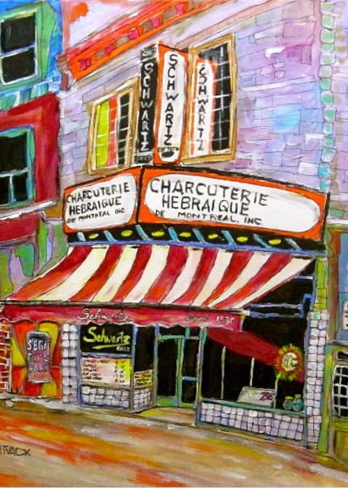 Montreal Landmark Greeting Card featuring the painting Shirley's Schwartz's by Michael Litvack