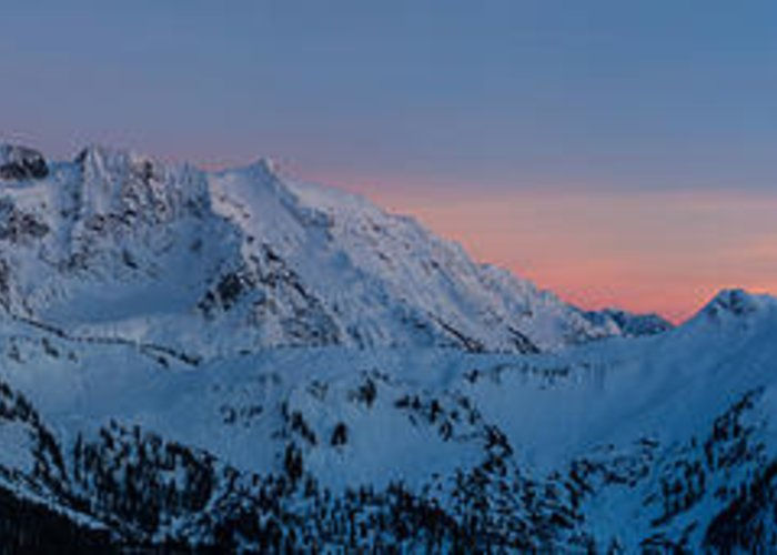 Moon Greeting Card featuring the photograph Shuksan Sunset Panorama by Mike Reid