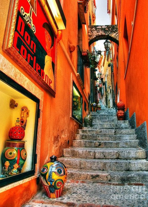 Sicilian Steps Greeting Card featuring the photograph Sicilian Steps by Mel Steinhauer