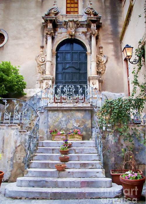 Sicily Greeting Card featuring the photograph Sicilian Village Steps And Door by David Smith
