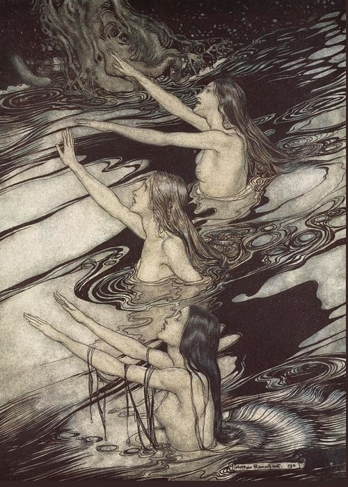 Der Ring Des Nibelungen; The Ring Of The Nibelung; Myth; Legend; Opera; The Ring Cycle; Richard Wagner; Norse Mythology; Female; Characters; Rhinemaidens; Illustration; Waving; Swimming; The Twilight Of The Gods; River Rhine; Water; Water-nymphs; Nymphs Greeting Card featuring the drawing Siegfried Siegfried Our Warning Is True Flee Oh Flee From The Curse by Arthur Rackham