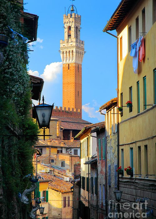 Europe Greeting Card featuring the photograph Siena Streets by Inge Johnsson