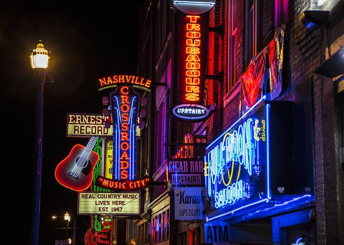 Nashville Greeting Card featuring the photograph Signs Of Music Row Nashville by John McGraw