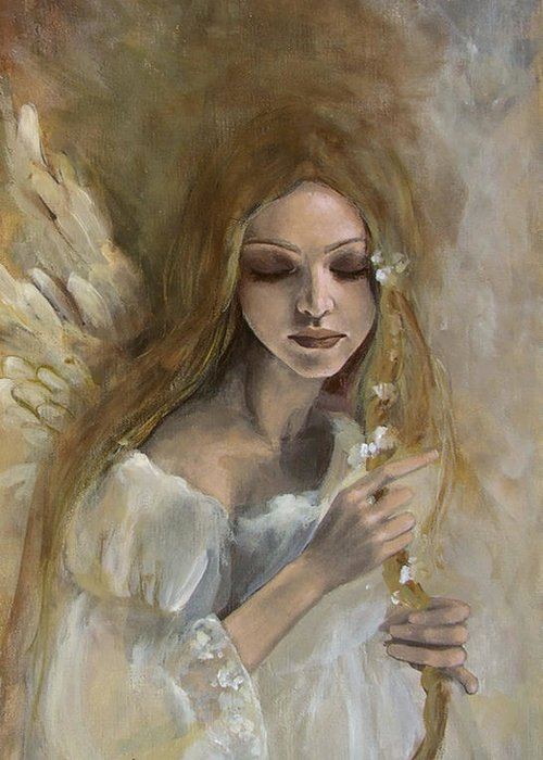 Angels Greeting Card featuring the painting Silence by Dorina Costras