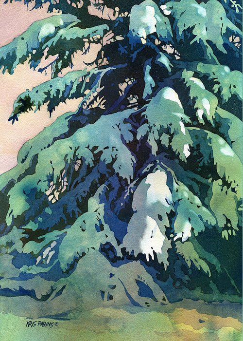 Kris Parins Greeting Card featuring the painting Silent Season by Kris Parins