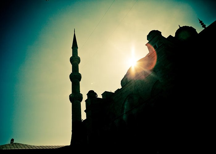 Arch Greeting Card featuring the photograph Silhouettes Of Blue Mosque Istambul Turkey by Raimond Klavins