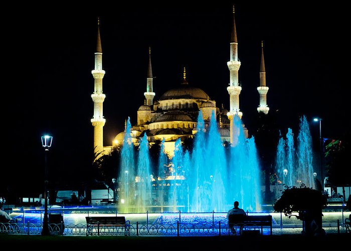 Landmarks Greeting Card featuring the photograph Silhouettes Of Blue Mosque Night View by Raimond Klavins