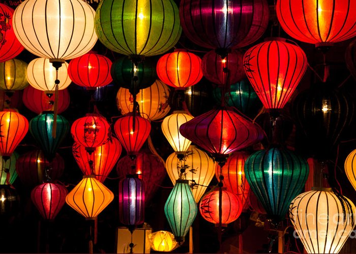 Vietnam Greeting Card featuring the photograph Silk Lanterns In Vietnam by Fototrav Print