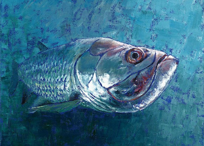Fish Greeting Card featuring the painting Silver King Tarpon by Pam Talley