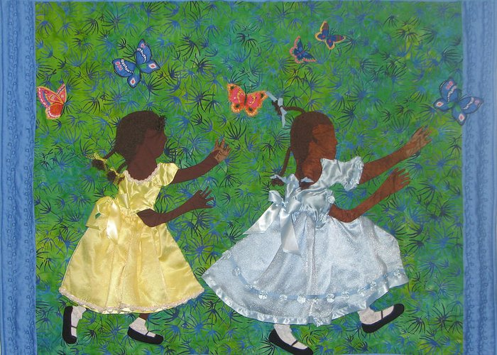 Children Playing Greeting Card featuring the tapestry - textile Simple Play by Aisha Lumumba