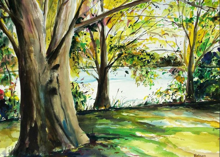 Watercolor Greeting Card featuring the painting Singeltary Shade by Scott Nelson