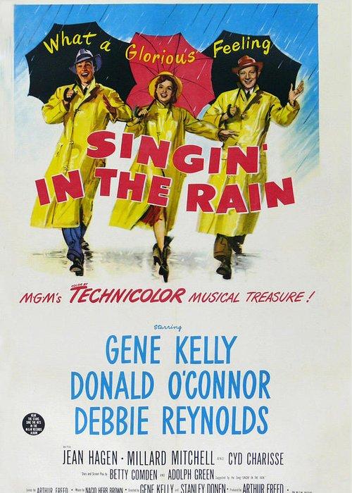 Singin In The Rain Greeting Card featuring the digital art Singin In The Rain by Georgia Fowler
