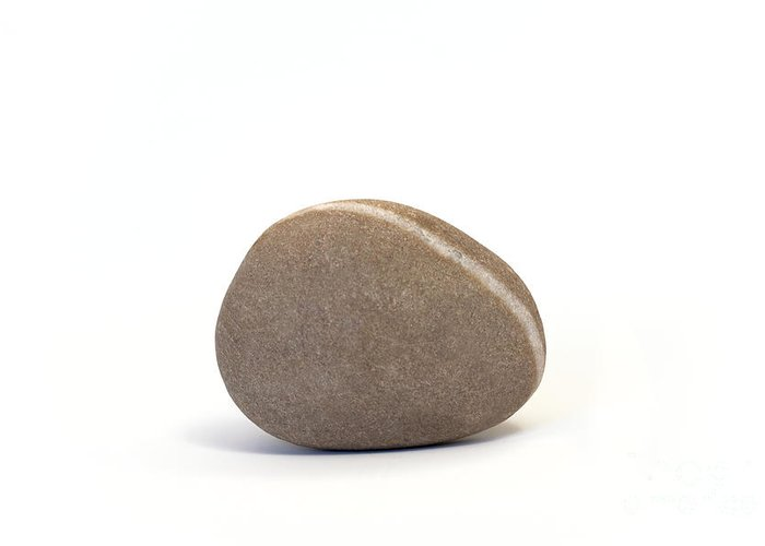 Pebble Greeting Card featuring the photograph Single Pebble Against White Background by Natalie Kinnear