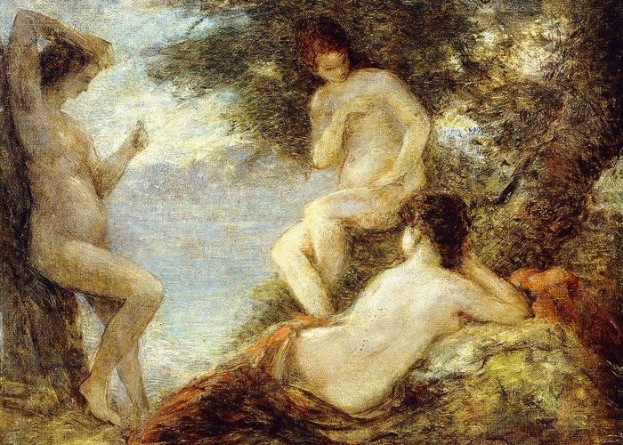 Below Greeting Card featuring the painting Sirens by Ignace Henri Jean Fantin-Latour