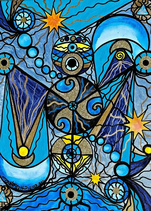 Vibration Greeting Card featuring the painting Sirius by Teal Eye Print Store