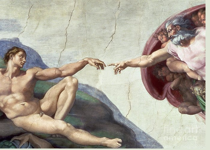 Renaissance Greeting Card featuring the painting Sistine Chapel Ceiling by Michelangelo Buonarroti
