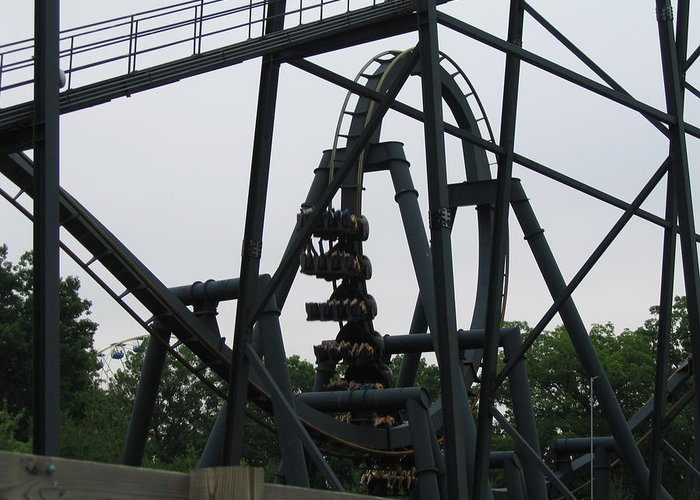 Six Greeting Card featuring the photograph Six Flags Great Adventure - Medusa Roller Coaster - 12124 by DC Photographer