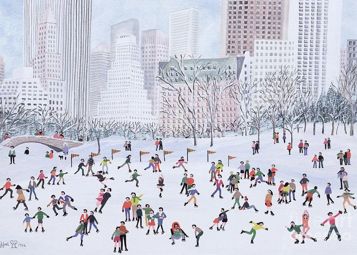 Naive; Townscape; Skyscraper; Bridge; Crowd; Ice; Patinage; Patiner; Patinoire Greeting Card featuring the painting Skating Rink Central Park New York by Judy Joel