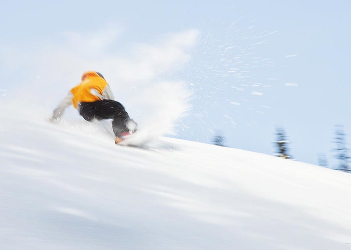 Skiers Greeting Card featuring the photograph Sketchy Landing by Theresa Tahara