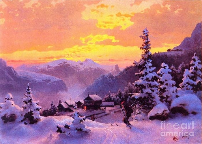 U.s.pd Greeting Card featuring the painting Ski by Pg Reproductions