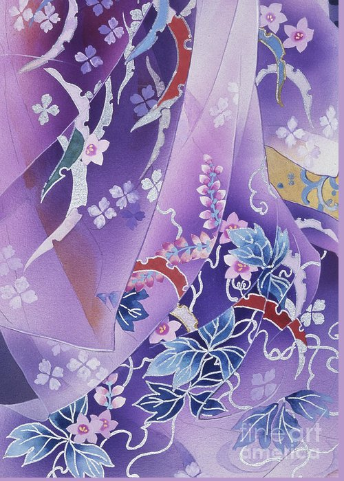 Haruyo Morita Greeting Card featuring the digital art Skiyu Purple Robe Crop by Haruyo Morita
