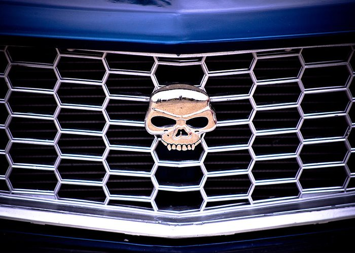 Mazda Rx3 Greeting Card featuring the photograph Skull Grill by Phil 'motography' Clark
