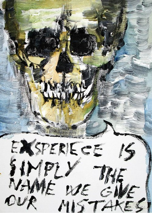 Skull Greeting Card featuring the painting Skull Quoting Oscar Wilde.4 by Fabrizio Cassetta