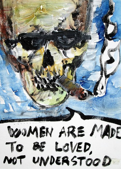Skull Greeting Card featuring the painting Skull Quoting Oscar Wilde.6 by Fabrizio Cassetta