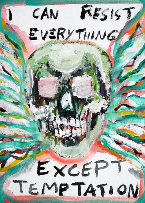 Skull Greeting Card featuring the painting Skull Quoting Oscar Wilde.7 by Fabrizio Cassetta