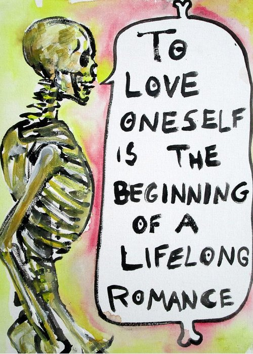 Skull Greeting Card featuring the painting Skull Quoting Oscar Wilde.9 by Fabrizio Cassetta