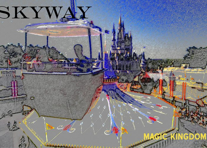 Art Greeting Card featuring the painting Skway Magic Kingdom by David Lee Thompson