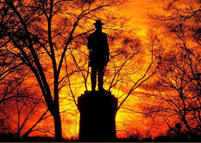 Civil War Greeting Card featuring the photograph Sky Fire - Flames Of Battle 50th Pennsylvania Volunteer Infantry-a1 Sunset Antietam by Michael Mazaika