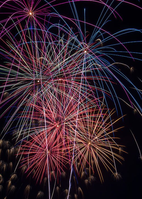 Fireworks Lights Up The Darkness Greeting Card featuring the photograph Sky Full Of Fireworks by Garry Gay