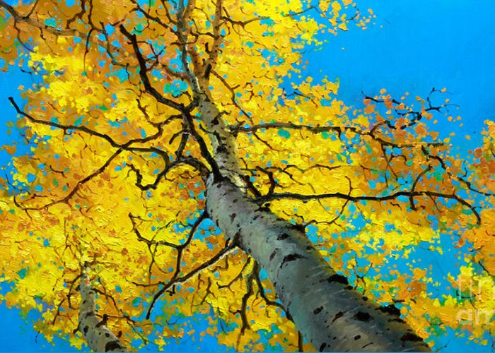Aspen Canopy Greeting Card featuring the painting Sky High 3 by Gary Kim