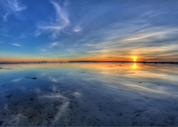 Boundary Bay Greeting Card featuring the photograph Sky Reflection In Boundary Bay by Pierre Leclerc Photography