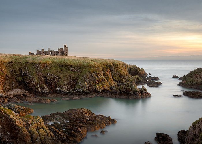 Slains Castle Greeting Card featuring the photograph Slains Castle Sunrise by Dave Bowman