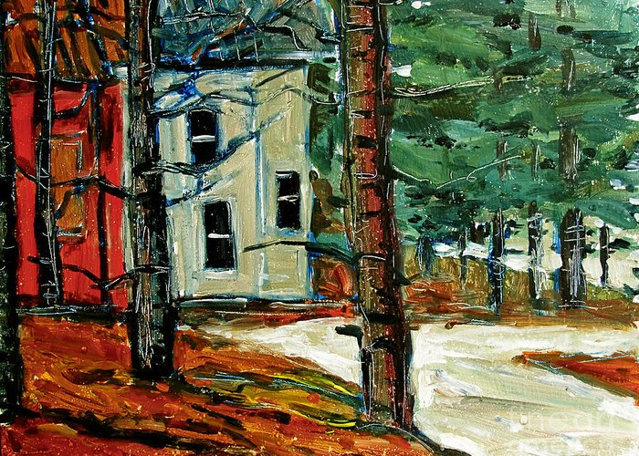 Plein Air Greeting Card featuring the painting Sleet And Rain At The Mock Place by Charlie Spear