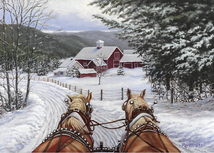 Horses Greeting Card featuring the painting Sleigh Bells by Richard De Wolfe