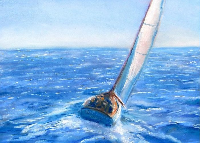 Sailboat Greeting Card featuring the painting Slip Away by Jack Skinner