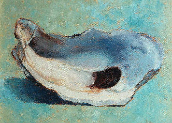 Oyster Greeting Card featuring the painting Slurp by Pam Talley