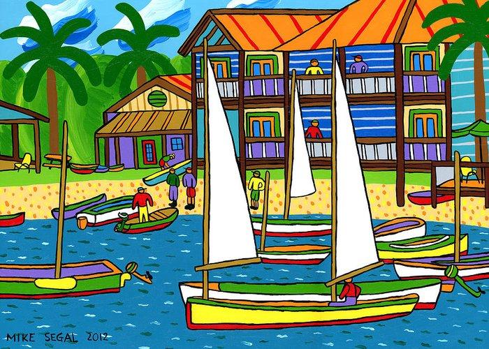 Cedar Key Greeting Card featuring the painting Small Boat Regatta - Cedar Key by Mike Segal