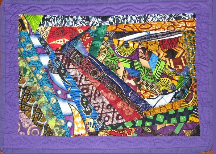 Abstract Greeting Card featuring the tapestry - textile Small Wonder by Aisha Lumumba
