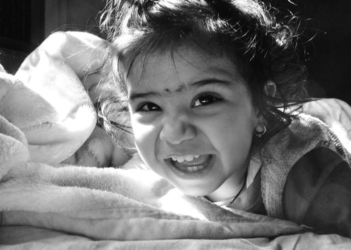 Children Greeting Card featuring the photograph Smile by Makarand Purohit