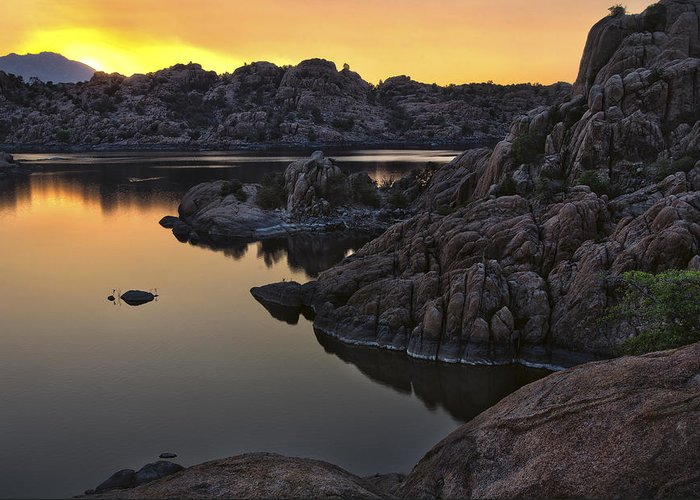 Solar Greeting Card featuring the photograph Smoky Sunset On Watson Lake by Dave Dilli