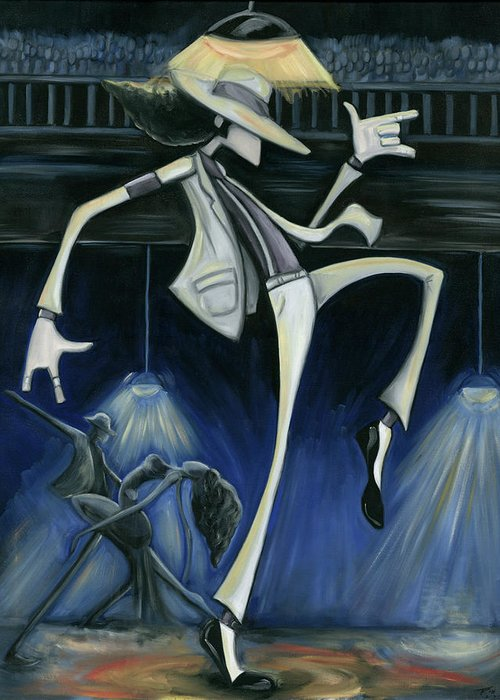 Smooth Greeting Card featuring the painting Smooth Criminal by Tu-Kwon Thomas