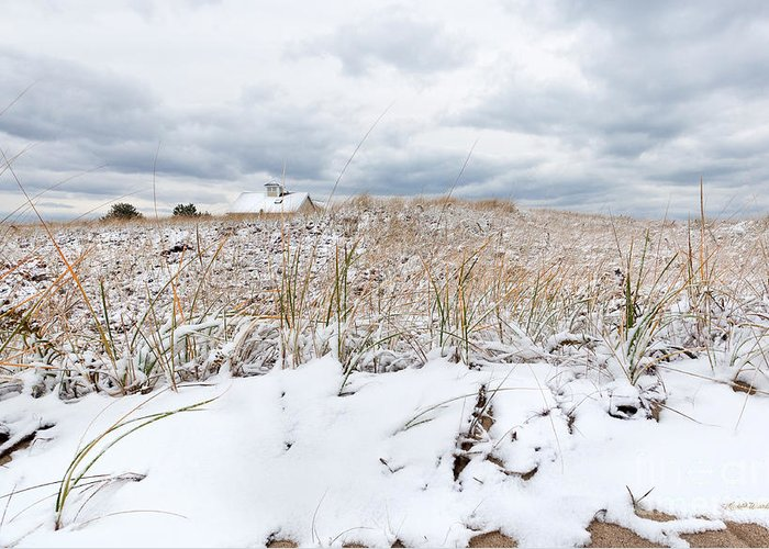 Smugglers Beach Snow Cape Cod Greeting Card featuring the photograph Smuggler's Beach Snow Cape Cod by Michelle Wiarda