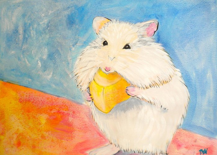 Snack Time Greeting Card featuring the painting Snack Time by Debi Starr