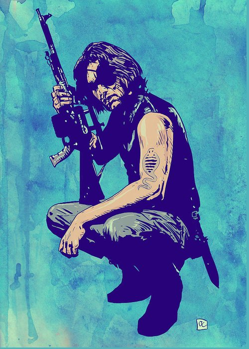 Kurt Russel Greeting Card featuring the drawing Snake Plissken by Giuseppe Cristiano