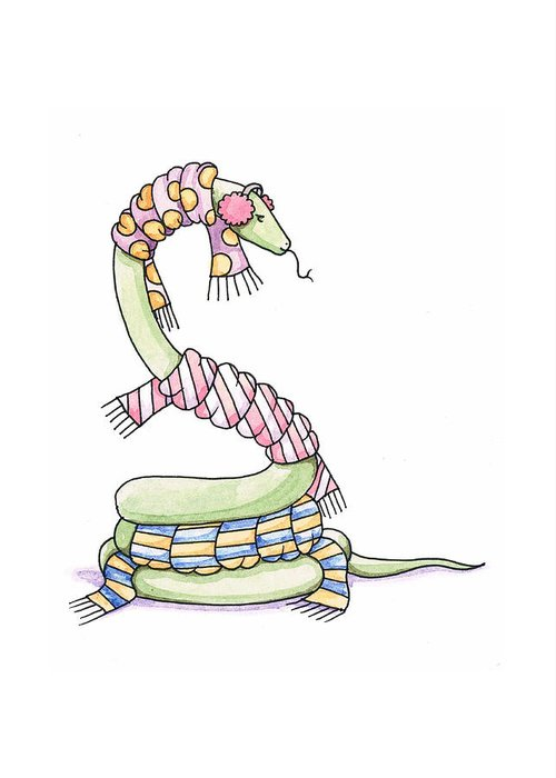 Snake Greeting Card featuring the painting Snake Wearing A Scarf by Christy Beckwith