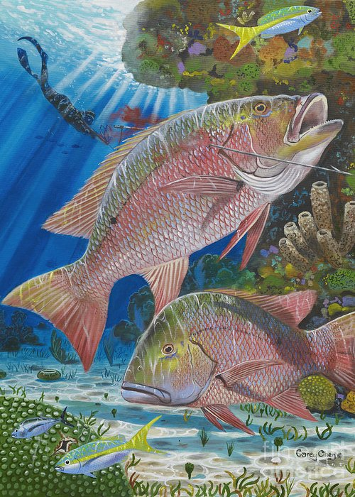 Snapper Greeting Card featuring the painting Snapper Spear by Carey Chen
